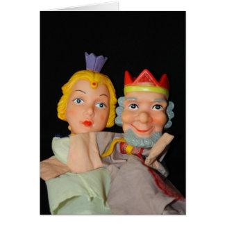 Cartão dos fantoches do rei e da rainha