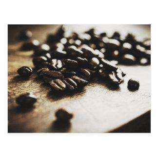 Cartão dos feijões de café do café