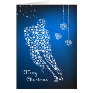 Cartão dos flocos de neve do hóquei do Feliz Natal