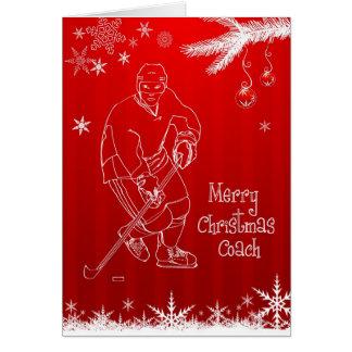 Cartão dos flocos de neve do treinador de hóquei