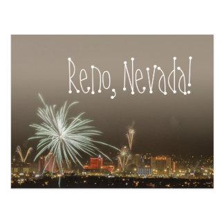 Cartão dos fogos-de-artifício de ano novo de Reno