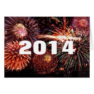 Cartão dos fogos-de-artifício dos 2014 felizes ano