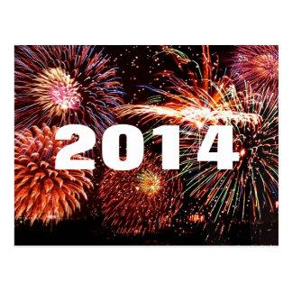 Cartão dos fogos-de-artifício dos 2014 felizes cartão postal