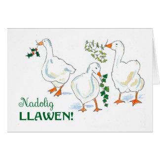 Cartão dos gansos do Natal do cumprimento da