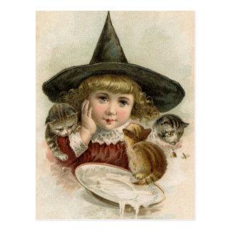 Cartão dos gatinhos da bruxa da menina do vintage