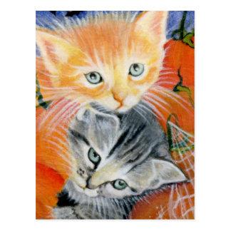 cartão dos gatinhos dos bichos do Dia das Bruxas