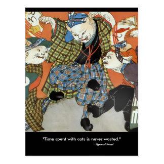 Cartão dos gatos da dança cartoes postais