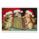 Cartão dos gatos de Accordian do natal vintage