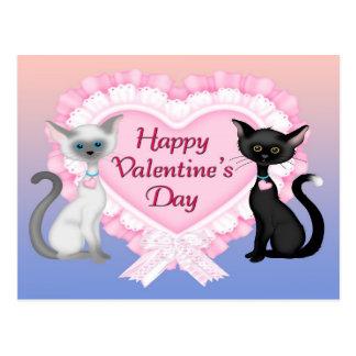 Cartão dos gatos do dia dos namorados