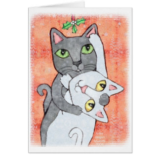 Cartão dos gatos do visco do Natal