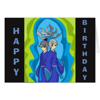 Cartão dos Gêmeos do feliz aniversario