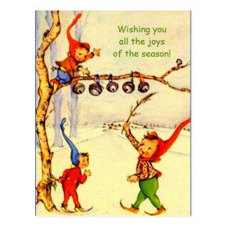 Cartão dos gnomos do feriado do vintage, imagem