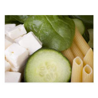 Cartão dos ingredientes da salada de massa