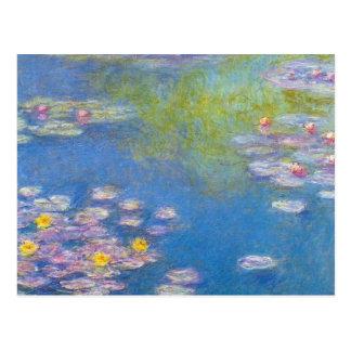 Cartão dos lírios de água amarela de Monet