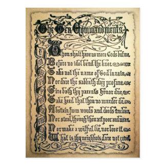 Cartão dos mandamentos da antiguidade dez