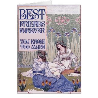 Cartão Dos melhores amigos arte do vintage para sempre