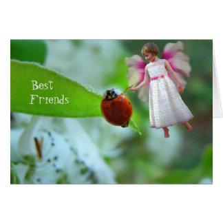 Cartão dos melhores amigos da joaninha e do duende