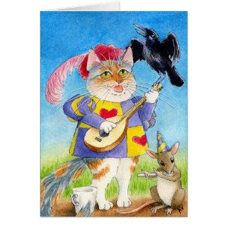 Cartão dos minstrels do dia dos namorados do gato,