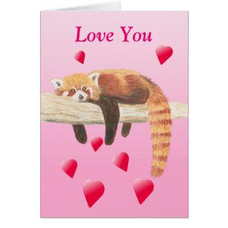 Cartão dos namorados da panda vermelha