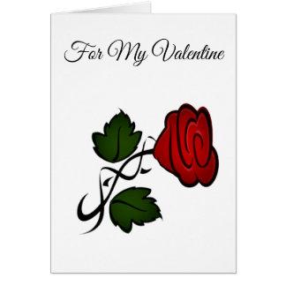Cartão dos namorados da rosa vermelha