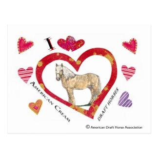 Cartão dos namorados de cavalos de esboço de creme