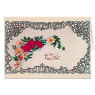 Cartão dos namorados de Nouveau da arte do vintage