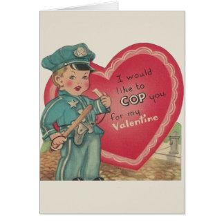 Cartão dos namorados do agente da polícia do