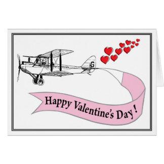 Cartão dos namorados do biplano