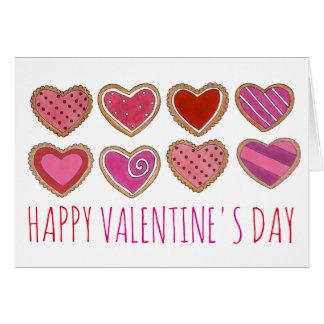 Cartão dos namorados do biscoito do coração do