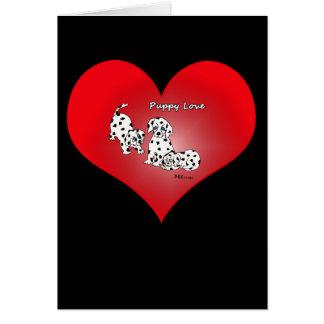 Cartão dos namorados do coração do amor de filhote