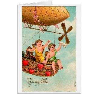 Cartão dos namorados do dirigível do vintage