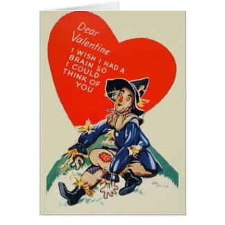 Cartão dos namorados do espantalho do vintage
