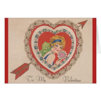 Cartão dos namorados do Flapper do vintage