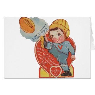 Cartão dos namorados do futebol do vintage
