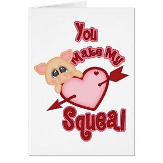 Cartão dos namorados do porco do guincho do