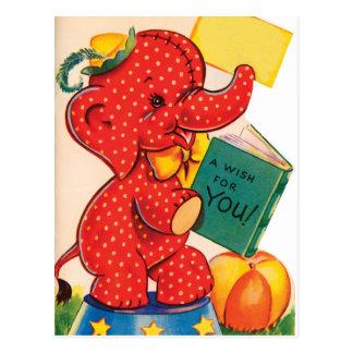 Cartão dos namorados   do vintage do elefante  