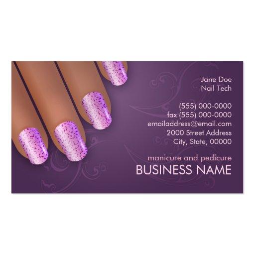 Cartão dos negócios & da nomeação do manicuro na p cartoes de visita