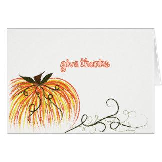 """Cartão dos obrigados do remendo da abóbora """"dê"""""""