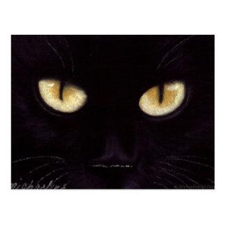 Cartão dos olhos de gato preto