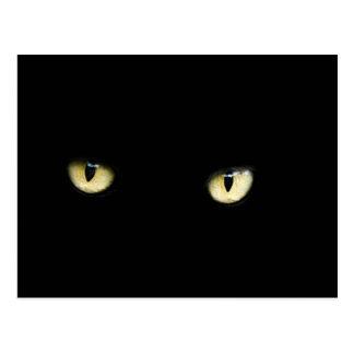 Cartão dos olhos de gato preto do Dia das Bruxas