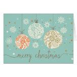 Cartão dos ornamento do natal vintage