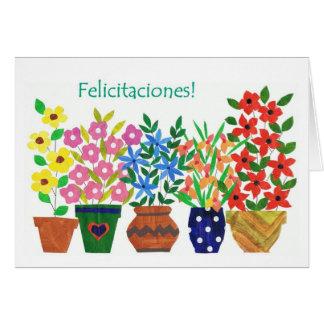 """Cartão dos parabéns de """"flower power"""" do espanhol"""