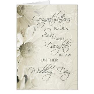 Cartão dos parabéns do casamento do filho & da