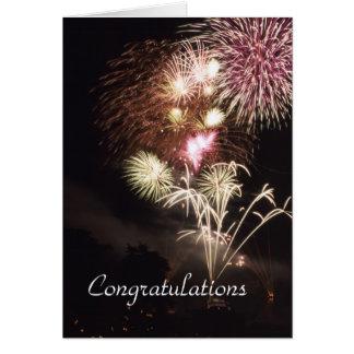 Cartão dos parabéns dos fogos-de-artifício