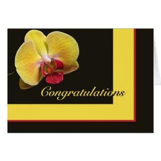 Cartão dos parabéns - orquídea de traça amarela