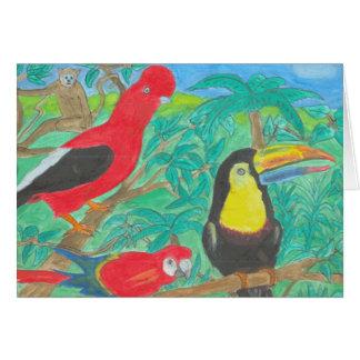 Cartão dos pássaros da floresta húmida