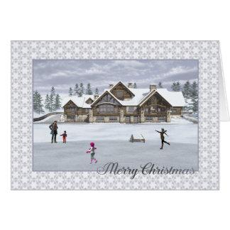 Cartão dos patinadores do Natal