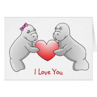 """Cartão dos peixes-boi eu te amo o"""""""