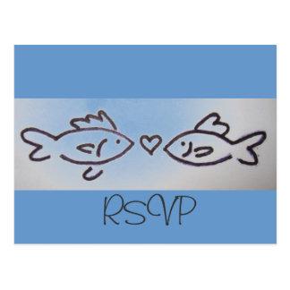 cartão dos peixes RSVP do beijo Cartão Postal