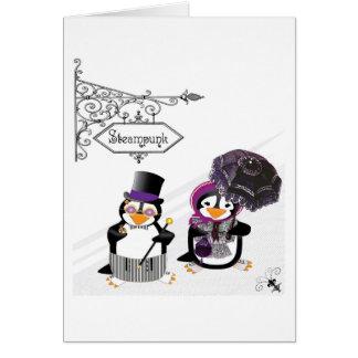 Cartão dos pinguins de Steampunk